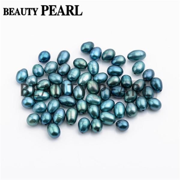 50 Pieces Wholesale Mixed 6-9mm Peacock Green and Blue Cultured Freshwater Pearls Half-drilled Teardrop Loose Pearl