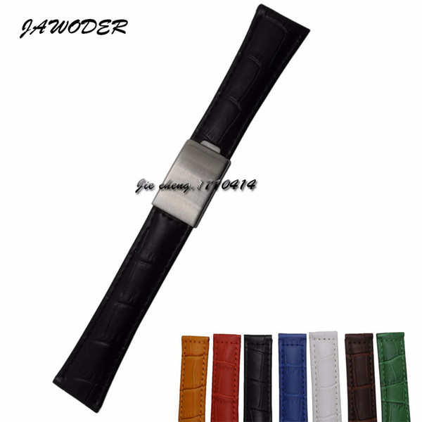 JAWODER Watchband 20mm Men Women Brown Green Blue Black Yellow White Red Crocodile Lines Genuine Leather Watch Band Strap for ROL116610LV