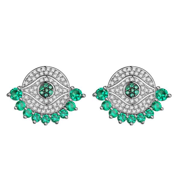 KIVN Fashion Jewelry Spiritual Evil Eye Pave CZ Cubic Zirconia Bridal Wedding Stud Earrings for Women