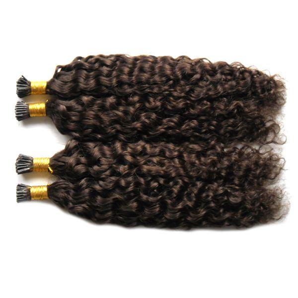 #2 Darkest Brown brazilian virgin hair keratin hair extension deep wave i tip extensions 200g/strands pre bonded hair extensions