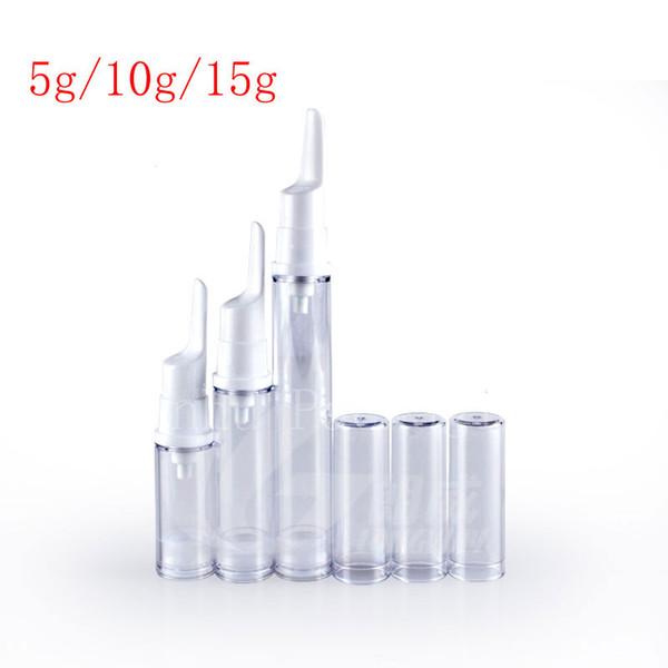 15g vide crème pour les yeux pompe airless petite bouteille de voyage en plastique, récipient cosmétique sans air de vide, bouteilles d'échantillon de crème de soins de la peau