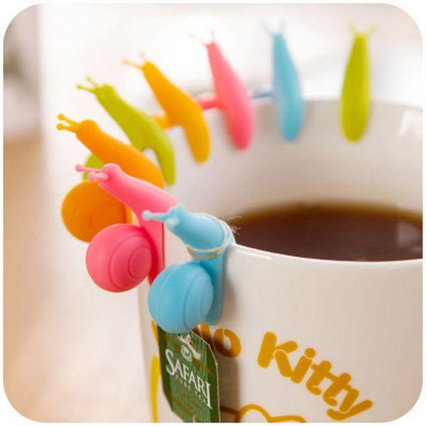 50PCS/lot Cute Snail Shape Silicone Tea Bag Holder Cup Mug Candy Colors Gift Set GOOD Random Color!