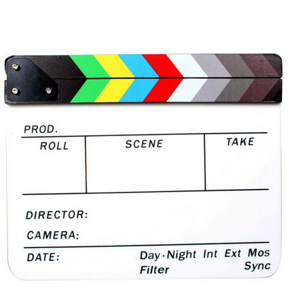 Professional Colorful Clapperboard Clapper Board Acrylic Dry Erase Director TV Movie Film Action Slate Clap Handmade Cut Prop