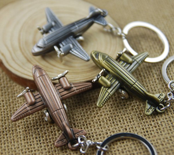 Fashion Aircraft Airplane Air Plane Model Metal Keychain Key Chain Ring Aeroplane Keyfob Keyring Keyrings 3 Color Gift C14L