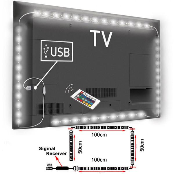 Venda por atacado - USB Powered RGB Mudança de Cor 5050 LED Strip lâmpada de TV do computador USB Backlight Light Kit Screen TV LCD Desktop PC 2 * 100cm + 2 * 50cm