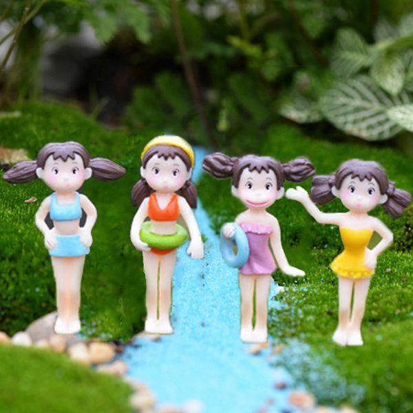 4pcs Swimwear Xiaomei girls Terrarium Figurines Potted Decoration Baison Tool Bottle Micro Landscape Craft Gnomes Jardim Zakka DIY