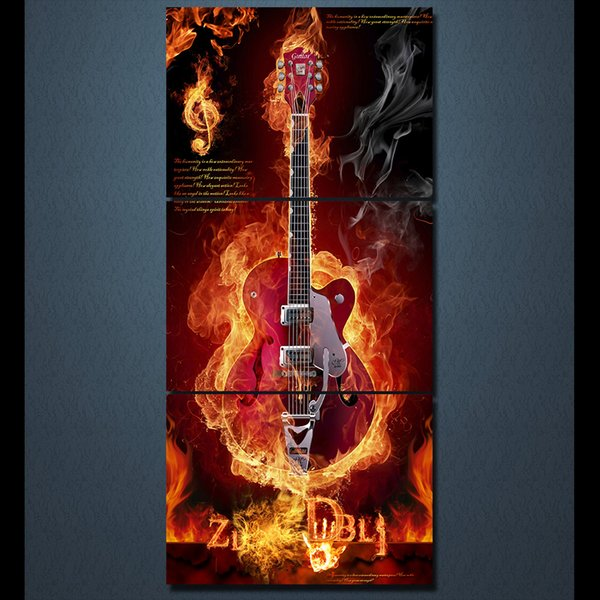 3 Pcs/Set Framed HD Printed Music Burning Flame Guitar Modern Canvas Painting On The Wall Art Modular Pictures Home Decor Poster