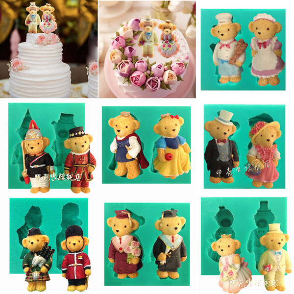 1pcs Couple Bear Silicone Soap Mold patisserie gateau de Moule Fondant Cake Decorating Tool Chocolate Pastry Cupcake Toppers Kitchen Bakery
