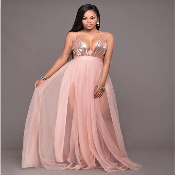 Venta caliente lentejuelas vestidos sexy verano con cuello en v sin respaldo vestidos para mujer moda vestido largo Elegante vestido de fiesta del club de verano señoras vestidos de baile