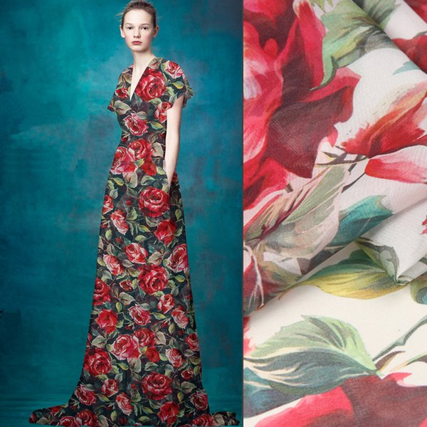 135cm wide 8mm red rose print thin silk chiffon fabric for summer long and short dress blouse shirt blue white available D741