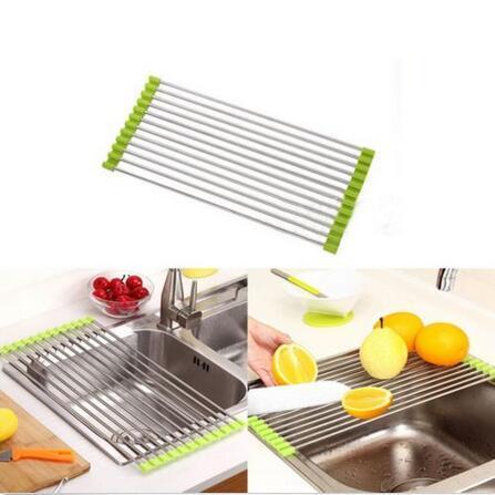 Facile à utiliser pliable évier de cuisine support en acier inoxydable vaisselle Couverts égouttoir titulaire de séchage utile cuisine outils CCA6392 48pcs