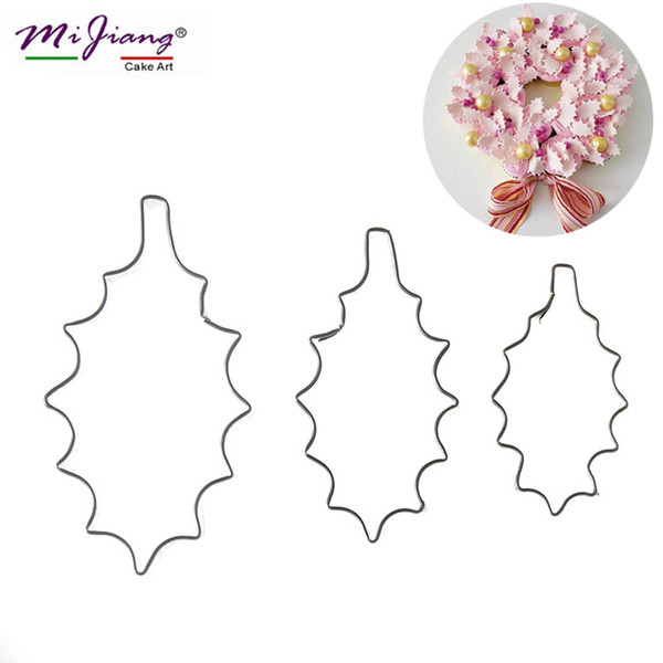 New Stainless Steel Holly Leaf Cake Cutters Set DIY Sugar Paste Biscuit Cookie Cutter Slicer Fondant Cake Decorating Tools Bakeware A306
