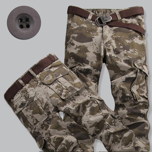 High Quality 2017 Winter Military Cotton Tactical Camouflage Straight Cargo Pants Men Army Jungle Slim Multi Pocket Trousers 11Color