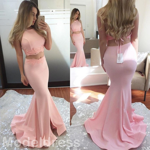 2017 Sexy Two Pieces Pink Prom Dresses Halter Appliques Open Back Mermaid Long Modest Evening Party Special Occasion Gowns Cheap Custom 2016