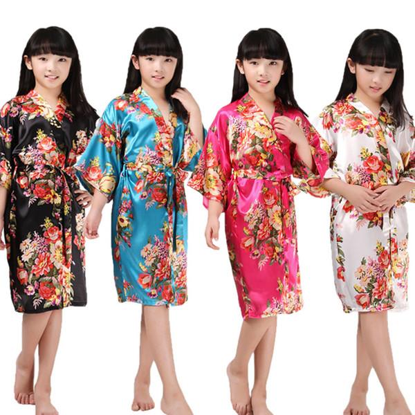704750121 Kids Satin Rayon Kimono Robe Floral Print Bathrobe Children Nightgown For  Spa Party Wedding Birthday