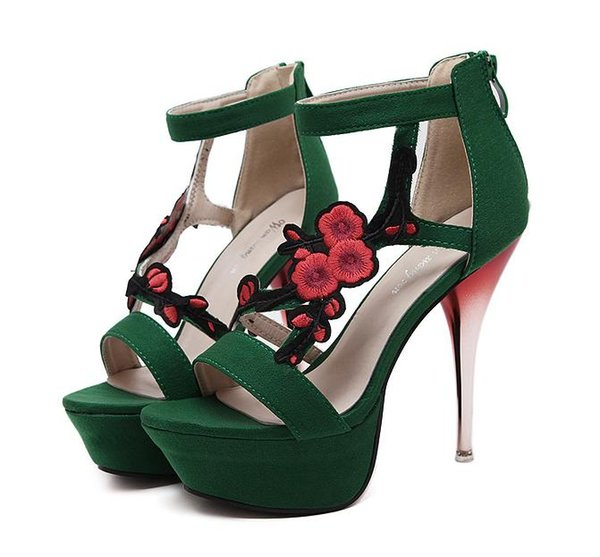 Fashion High Heels Stilettos Pumps Green Red Black Open Toe Ankle Strap Party Club Prom Shoes Size 35 to 40