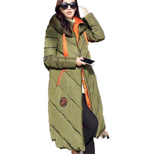 Women Winter Coat Long sleeve Splice Hooded Long Jacket Thick Warm Cotton Down jacket Large size Loose Leisure Womens Coat G2633