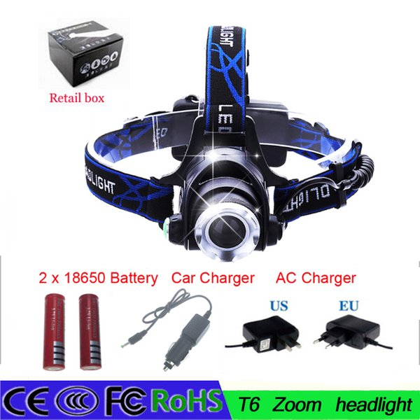 Headlight T6 led headlamp zoom flashlight adjustable head lamp 2000lm XM-L T6 18650 battery front light Recharge zoomable
