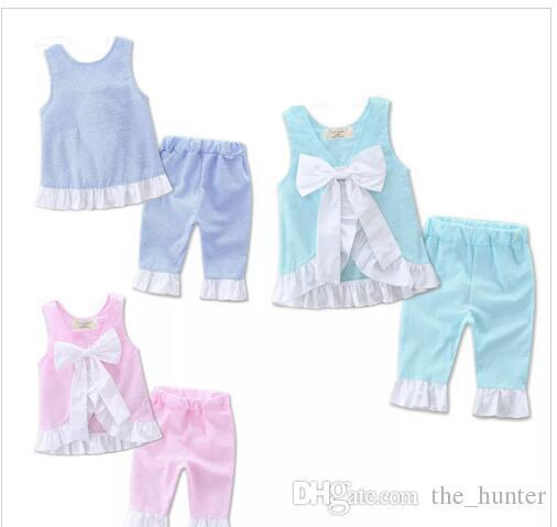 Girls Clothing Sets Summer Grid Outfits Big Bow Vest Pant Suit Kids Lattice T Shirts Shorts Tops Pants Trousers Baby Kids Clothes J14
