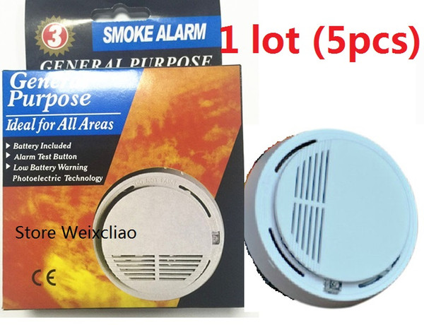 5pcs 1 lot With 9V Battery Option General Purpose Smoke Alarm Wireless Detector Fire Sensor Monitor Cordless for All Areas Free Shipping