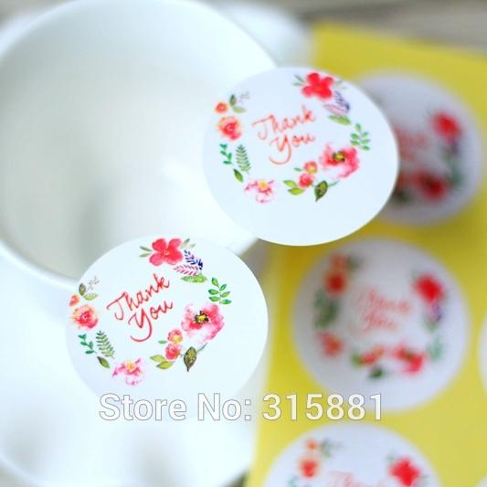 Thank You Stickers Floral Thank You Labelwedding Favor Sticker