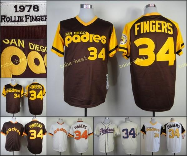 new product 23034 03c15 san diego padres 34 rollie fingers 1978 brown throwback jersey
