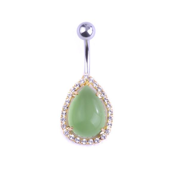 Body Piercing Jewelry Transparent Water Drop Gem Piercings Light Blue Navel Belly Button Rings Professional Umbigo Joias Grillz