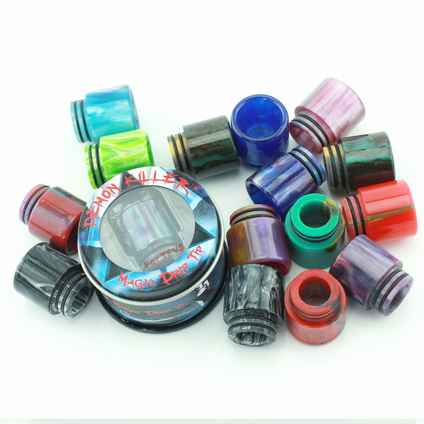 best selling Epoxy Resin TFV8 Drip Tip Colorful Demon Killer 510 Wide Bore Driptips For E-cigs Cleito Smok TFV8 Goon 528 Tank Atomizers Mouthpiece DHL