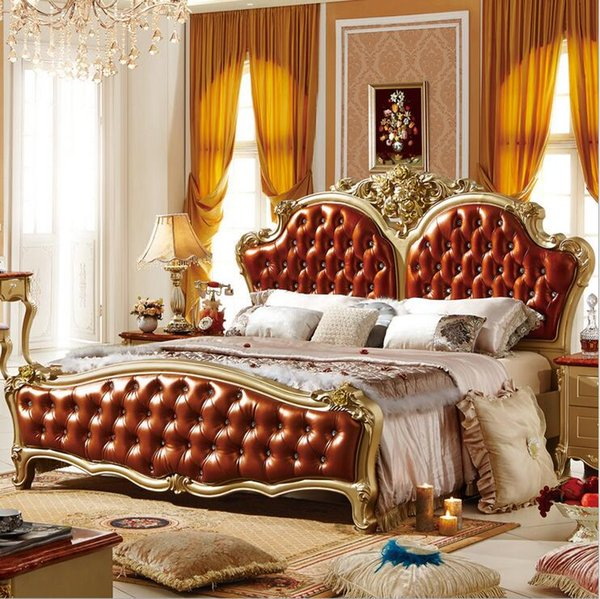 factory price king size leather modern european solid wood bed Fashion Carved bed french bedroom furniture 10068