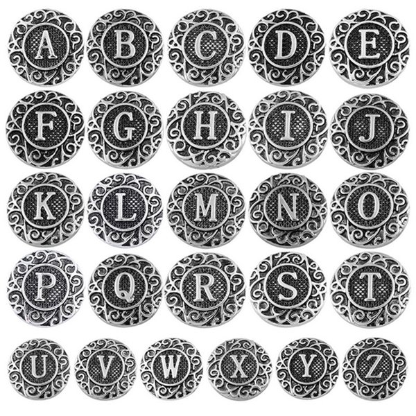 top popular Ginger Snaps Vintage 26 English Letters Metal Snap Button Interchangeable 18mm Jewelry Accessory(You can choose whatever you like) 2021