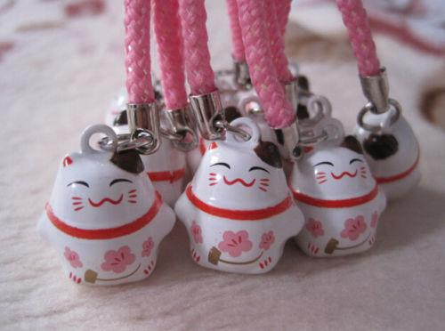 New Lot 50pcs Cartoon Pink lovely Classic Lucky cat Bell Cell Phone Charm Strap Free Shipping