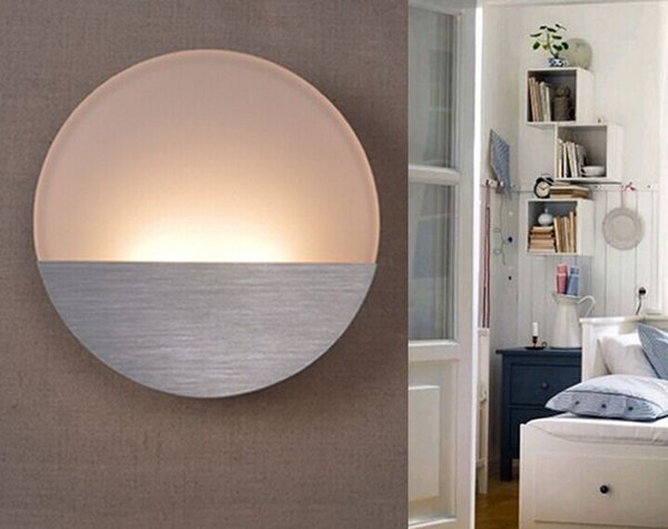Modern minimalist LED lamp bedside lamp energy-saving lamps study the living room bedroom aisle acrylic lamp round LLFA