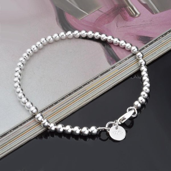 New Fashion Length 20cm Radius 4MM Stainless Steel Bead bracelet Link For DIY Charm Bracelets Chain 925 silver plated jewelry