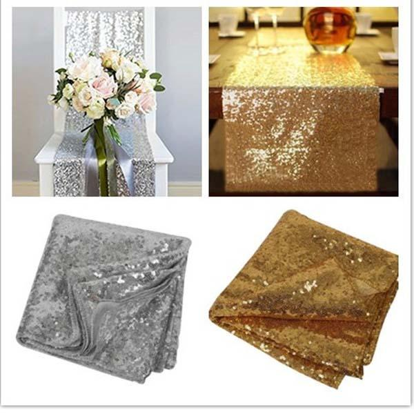 top popular 5PCS 30*180cm Fabric Table Runner Gold Silver Sequin Table Cloth Sparkly Bling for Wedding Party Decoration Products Supplies 2019