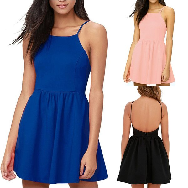 4 Colors Women Lady Girls Summer Slim Casual Fashion Sleeveless Sling Dress Skirts Clothes Clothing 3045