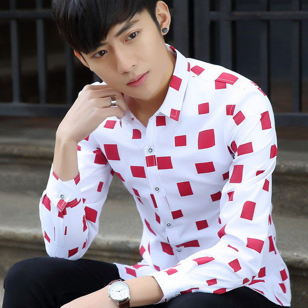 Wholesale free shipping men causal block printed long sleeve shrit Cotton Slim Fit French Cuff Casual Male Dress Shirt