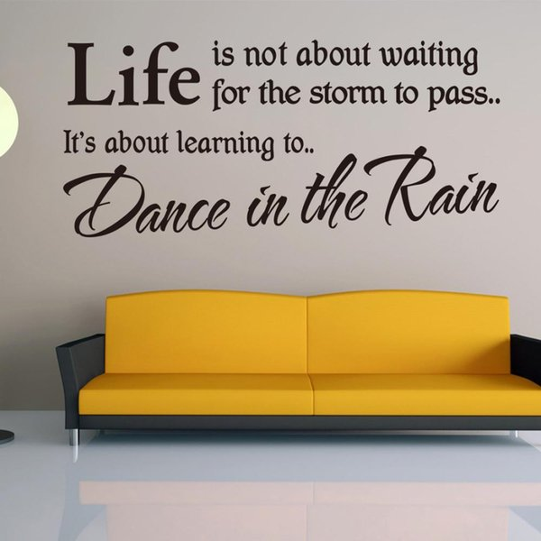 Life is not about Waiting Quote Wall Sticker Dance In The Rain Removable adesivo de parede Wall Sticker Home Decoration Free Shipping