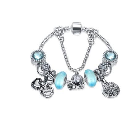 925 Murano Glass Charm Bracelets Bead Christmas Clear Blue Sweet Mother Charms Dangle For Women Original DIY Jewelry Plum Style Fit Pandora