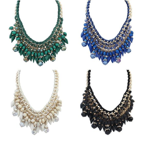 15pcs Hot Sale Brand Fashion Crystal bead Necklaces Pendants Chunky Big Choker Necklace Vintage Collar Statement Jewelry F260