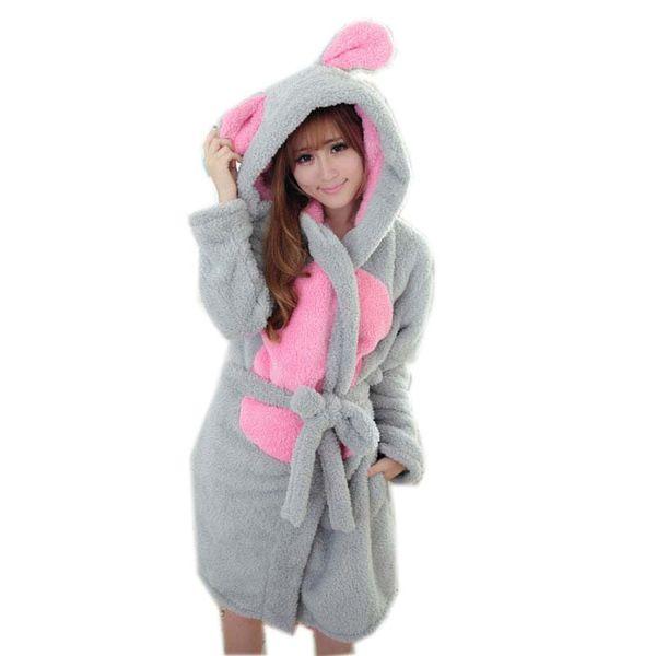 Wholesale- Autumn Winter Casual Hooded Robes Femme Women Couple Thickening Bathrobe Nightgown Fashion Pajama Lounge Sleepwear