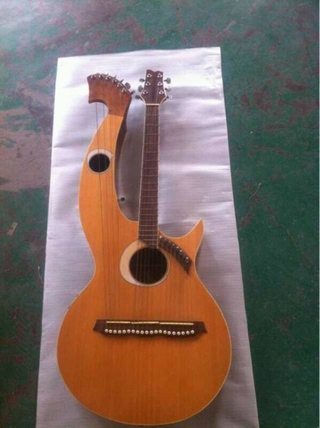 best selling Wholesale-Harp Guitar 6 6 8 String Acoustic Electric Double Neck Guitar brand new