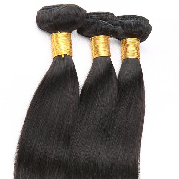 Бразильские Пучки Плетения Волос Прямые Реми Плетение Человеческих Волос очень Красота 3 или 4 ШТ. Естественный Цвет