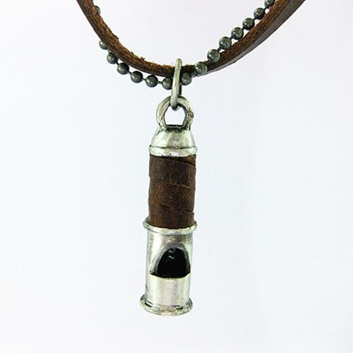 High Quality 100% Vintage Genuine Leather Necklace Bead Chain Punk Vintage Jewelry Whistle Shape Pendant Necklace