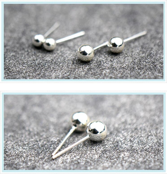 Manual Smooth Surface Round Beads 2mm-6mm mini Peas Sterling Silver 925 Anti allergic Earring Stud Ear Nail
