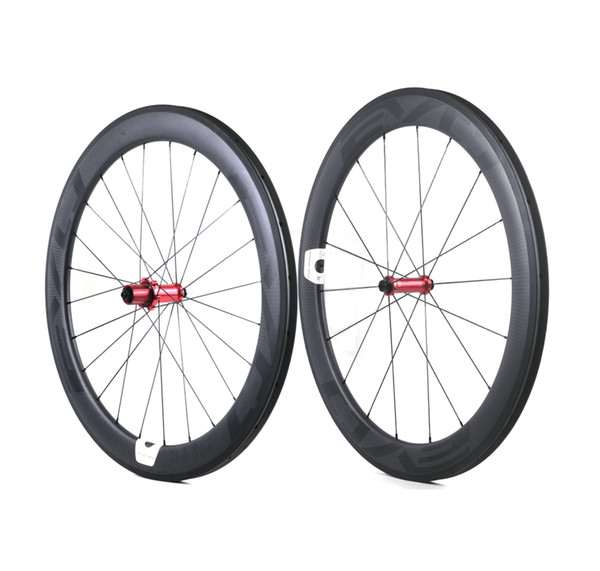 EVO carbon road bike wheels 60mm depth 25mm width full carbon clincher/tubular wheelset with Straight Pull hubs Customizable LOGO