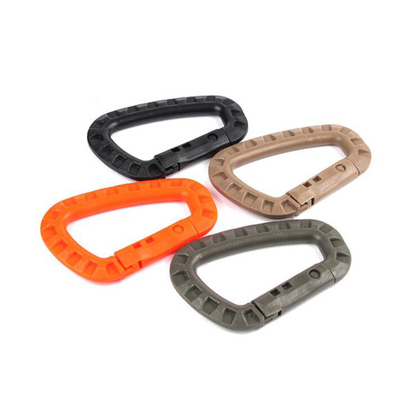 Outdoor D Shape Buckle Placstic Carabiner Clip Climbing Camping Buckle Fast Hang Keychain Hook Free Shipping