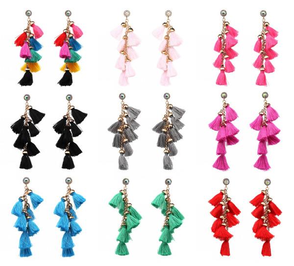 Ethnic Jewelry Long Wool Tassel Earrings 10 Colors Handmade Crystal Alloy Tassel Eardrop For Woman Girl'S Christmas Wedding Gift D37LR