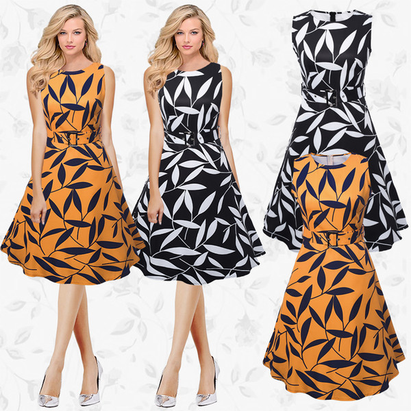 Summer Printed Leaves A Line Dresses High-end Casual Sleeveless Women Crew Neck Knee Length Vintage Dress