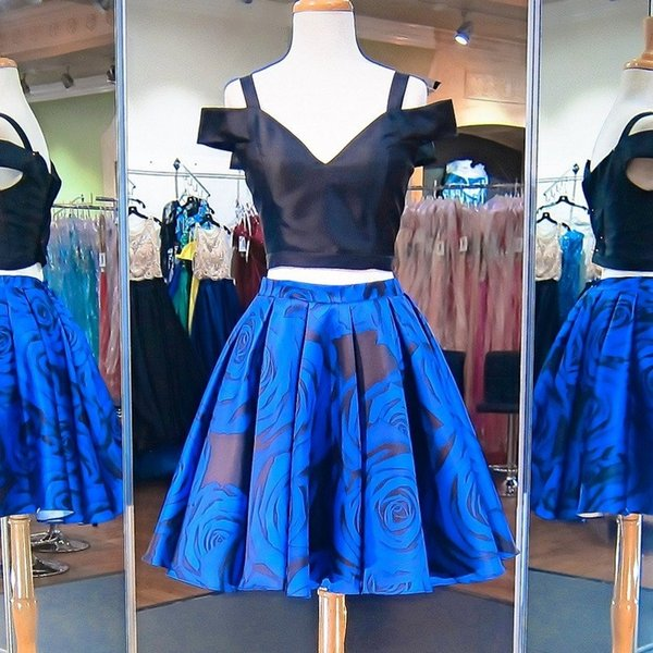 2 Pieces Short Prom Dresses Off Shoulder Black top and Royal Blue Floral Print Satin Formal Homecoming Cocktail Party Gowns Cheal Real photo