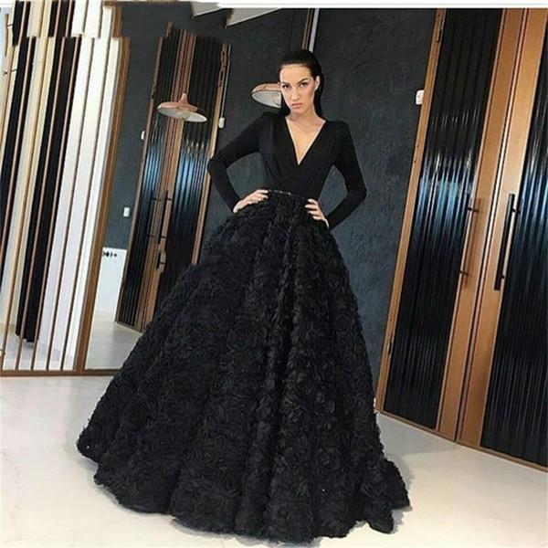 Abendkleid schwarz lange armel